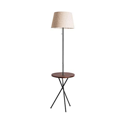 Tafellamp voor woonkamer, slaapkamer, bank, salontafel, met dienblad, Amerikaanse lamp, eenvoudig, van massief hout, oplaadbaar, verticaal W1/4 (kleur: notenboom)