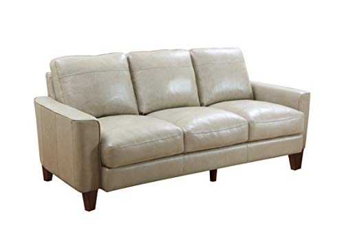 Oliver Pierce Landon Leather Sofa, Grey