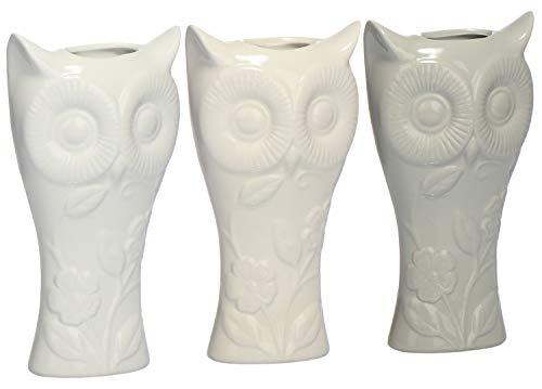com-four® 3X Luftbefeuchter aus Keramik - Heizkörper-Verdunster zum Befeuchten der Raumluft - Wasserverdunster - Heizungsverdunster mit Eulen Motiv (03 Stück - Eule)