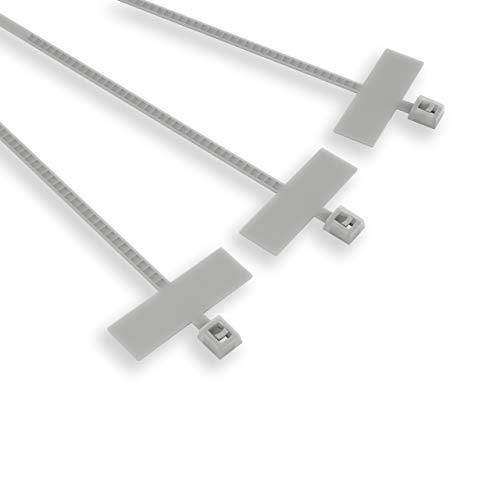 Etelec 100 bridas de identificación para cables tubos, nailon, placa con superficie para escribir 25 x 8 mm, diámetro de la ligadura 3-20 mm, tamaño 100 x 2,5 mm, blanco, FBT10025