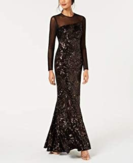 BETSY & ADAM Womens Black Gown Velvet & Sequin Long Sleeve Illusion Neckline Maxi Evening Dress US Size: 4