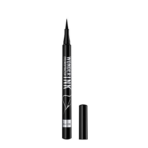 Rimmel London Eyeliner Waterproof Wonder'Ink, Penna con Punta in Feltro, Tratto Sottile e Preciso, Nero