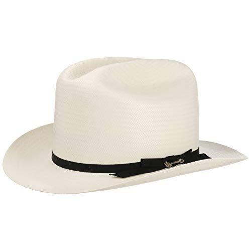 Stetson Open Road 6X Western Strohhut Herren - Made in USA - Cowboyhut aus Stroh - Sonnenhut mit Ripsbandgarnitur - Sommerhut mit Schleife - Frühjahr/Sommer cremeweiß 56 cm