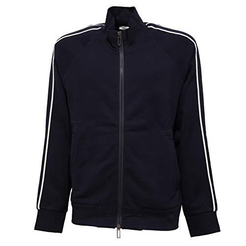 PAOLO PECORA 8399J Felpa Uomo Cotton Blue Full Zip Winter Sweatshirt Man [XL]