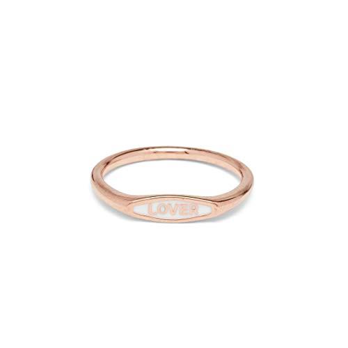 Pura Vida Rose Gold Lover Enamel Ring - Brass Base, Size 8