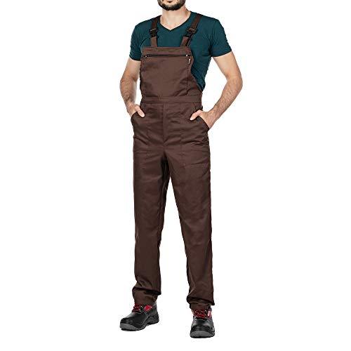 Arbeitshosen, Latzhose Herren, Größen S-XXXL, Arbeitshose Herren Made in EU, Latzhosen, Arbeit Hose, Blaumann, Arbeitskleidung (Braun, XXL)