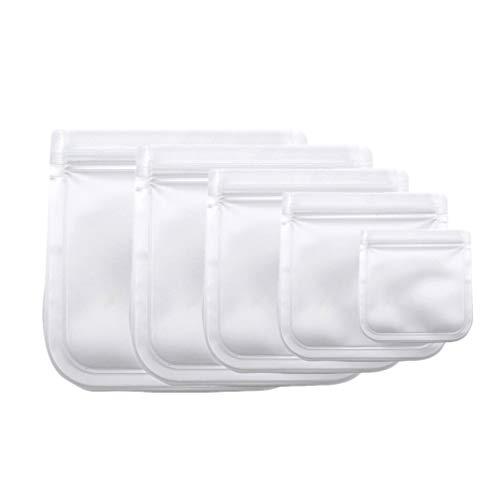 Hemoton 5 Stück Silikon Lebensmittel Aufbewahrungsbeutel Wiederverwendbare Sandwichbeutel Gefrierbeutel Mittagessen Druckverschlussbeutel Versiegelung Aufbewahrungsbeutel (Transparent)