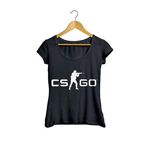 Camiseta Baby Look CS-GO Counter Strike Tiro FPS Feminino Preto Tamanho:G;Cor:Preto