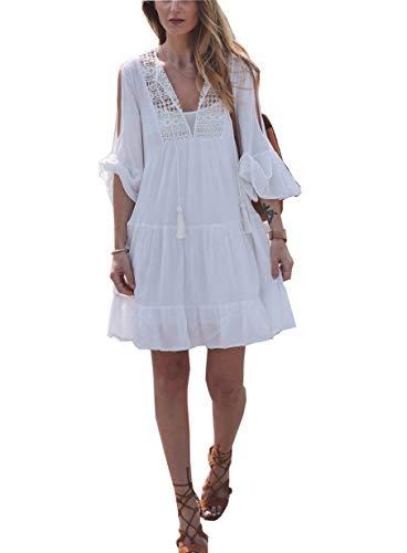 ACLOIN Damen Häkeln Strandkleider Boho Crochet Bikini Cover up Glocke närmel Sommerkleid Beachwear (Einheitsgröße, Weiß)