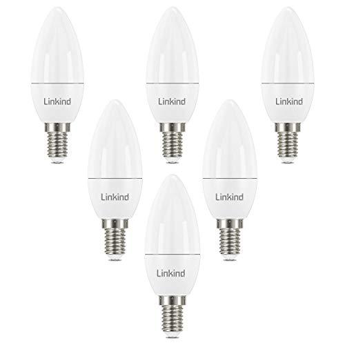 Linkind 5,2W LED E14 Kerzenlampe, 40W Glühlampen ersetzt, 470lm 2700K Warmweiß Kerzenform Birne, CE/RoHS/ErP-zertifiziert, Nicht Dimmbar 6er Pack