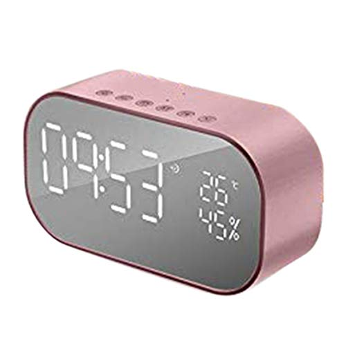 Sylvialuca Alarm Klok FM Radio Mini Draadloze Speaker Spiegel LED Dimbaar Display Auto Subwoofer Stereo Speaker