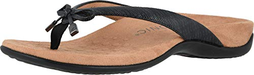 Vionic Women's Rest Bella II Toepost Sandal - Ladies Flip Flop with Concealed Orthotic Arch Support Black Woven 7.5 Medium US