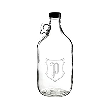 Lillian Rose Glass Growler Monogram Letter P