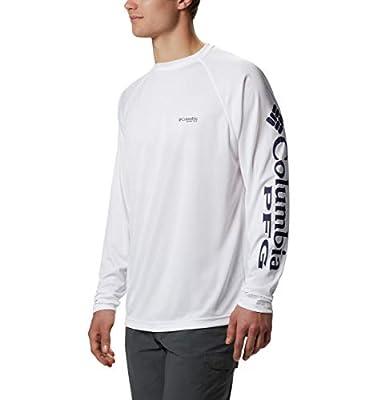 Columbia Men's PFG Terminal Tackle Long Sleeve Tee , White/Nightshade Logo, Large