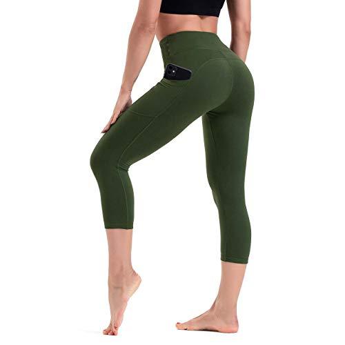 HLTPRO Pantalones de yoga para mujer con bolsillos para teléfono Capri Leggings ropa de entrenamiento con cintura alta y control de barriga Ideal correr deportes atletismo y fitness moda XLVerde oliva