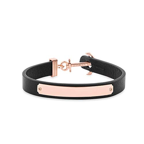 PAUL HEWITT Armband mit Gravur Signum - Personalisierteres Leder Armband Damen (Schwarz) individuelle Wunschgravur mit Anker Schmuck aus IP-Edelstahl (Rosegold)