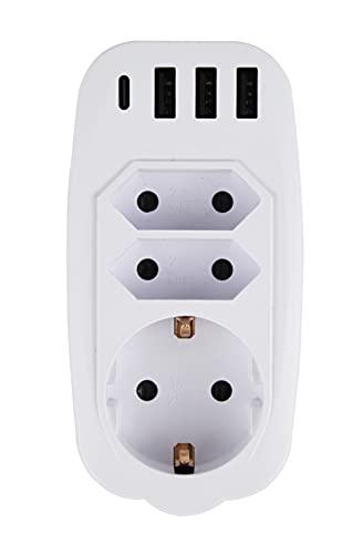 Enchufe USB Pared, 7 en1 Pared Adaptador Enchufe (4000W), Ladron Enchufes con 1Type C USB+3 Type A USB Puertos+2 Enchufes EU+1 Toma de CA