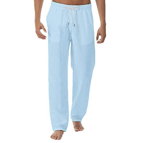 2021 Nuevo Pantalones para Hombre, Algodón y Lino Pantalones Casuales Moda Deportivos Color Sólido Pants Jogging Pantalon Fitness Gym Suelto Pantalones Largos Pantalones Ropa de Hombre