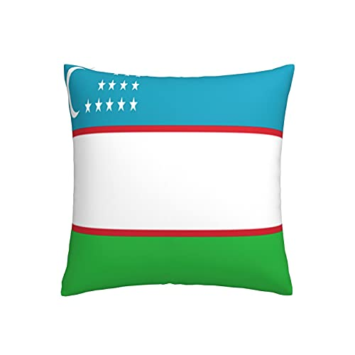 Kissenbezug mit Flagge von Usbekistan, quadratisch, dekorativer Kissenbezug für Sofa, Couch, Zuhause, Schlafzimmer, Innen- & Außenbereich, 45,7 x 45,7 cm