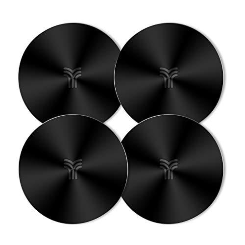 YOSH Metallplatten (4 runde), 4 Plättchen mit einem 3M-Kleber für magnetische Universal-Autohalterung/Smartphone-Halterung für Autohalterung/magnetischer Ständer