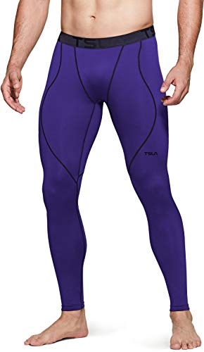 TSLA Men's Thermal Compression Pants, Athletic Sports Leggings & Running Tights, Wintergear Base Layer Bottoms, Heatlock Purple, Large