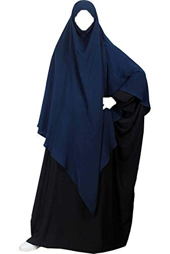Khimar mit Niqab option - Langer Hijab mit integriertem Haarband hält - ohne Nadel - praktisches kopftuch für Muslimische frauen Confectionsoumk (blau)