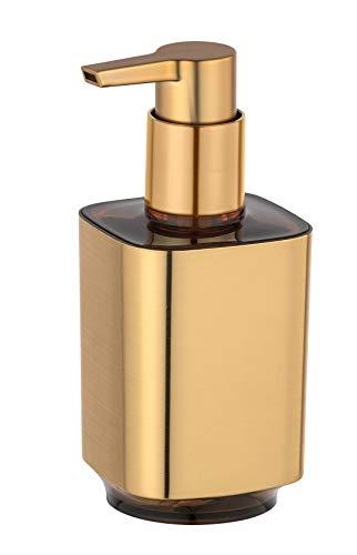 WENKO Seifenspender Auron Gold - Flüssigseifen-Spender, Spülmittel-Spender Fassungsvermögen: 0.3 l, Kunststoff, 7 x 16.5 x 8 cm, Gold
