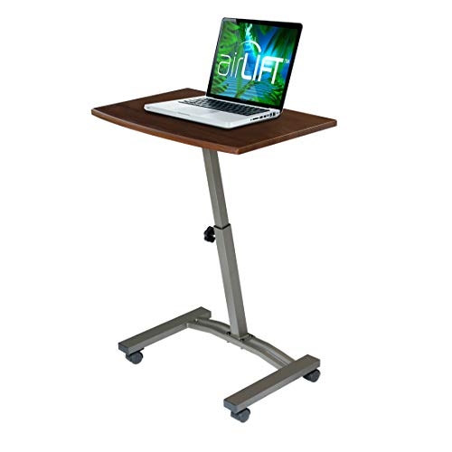 "Seville Classics 23.6"" Solid-Top Height Adjustable Mobile Laptop Desk Cart Ergonomic Table, Walnut"