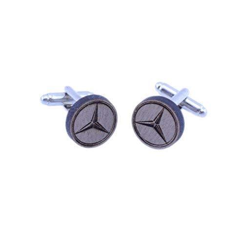 Vault 101 Limited Mercedes Benz Anstecker Manschettenknöpfe - Handgemacht Lasergeschnitten Walnussholz Geschenk - Mercedes Benz