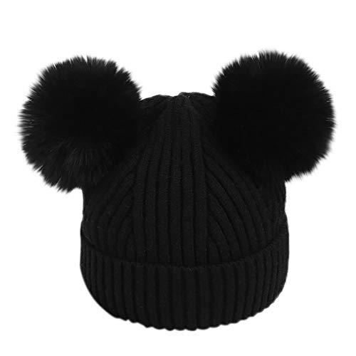 Lenfesh Mädchen Strickmütze mit Bommel Waschbär Pom Pom Beanie Hüte Winter Warm Crochet Knit Doppel Kunstpelz Pom Beanie Hut Cap