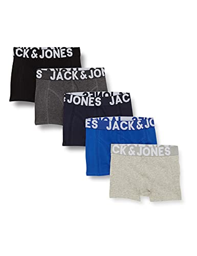 JACK & JONES Jungen JACMIKE Trunks 5 Pack JR Boxershorts, Black/Detail:Navy Blazer-DGM-Surf The Web-LGM, 164