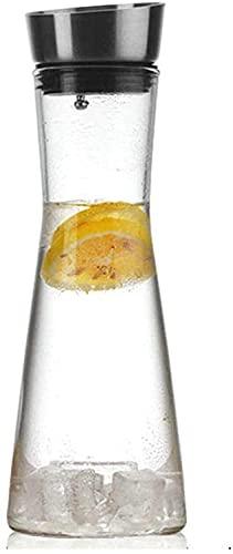 HJW Útil Tetera Tetera Jarra de Agua de Vidrio Jarra de Jugo Helado con Tapa de Acero Inoxidable Jarra de Vidrio de Borosilicato Hervidor para Vino Tinto Jugo Leche Hielo Agua Fría Café Caliente Taza