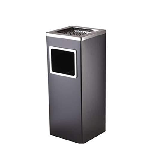 ZHONGTAI Mülleimer Outdoor-Mülleimer aus Edelstahl mit Deckel, quadratischer Papierkorb mit Aschenbecher und Chrom-Innenfass für Lobby KTV Schwingdeckeleimer (Color : Black)