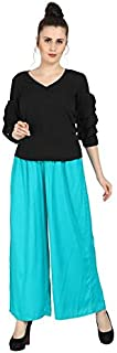 Marlin Blue Plazzo from in Turquoise Color Rayon Fabric for Girls/Women in Size 28-36