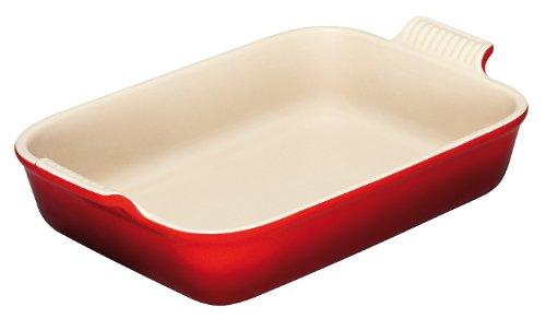 LE CREUSET Pirofila Rettangolare Gres 41/36cm, Colore: Rosso