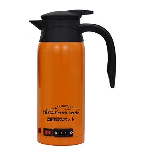 車用電気ポット 車用湯沸かし器 12V/24V兼用/もっと早く沸騰する/品質保証90日/800ml大容量/食品級ステンレス鋼/沸き立った後に自動的に保温/小型車トラック兼用(オレンジ色)