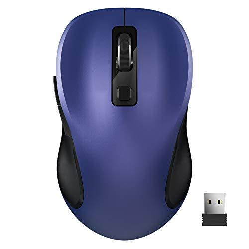 Computermaus, TedGem Funkmaus 2.4G Kabellose Maus Funk Maus Wireless Maus Tragbar Drahtlose Maus mit 6 Tasten, 3 Einstellbare DPI 1600/1200 / 800 für Laptop & PC, Microsoft & macOS (Blau)