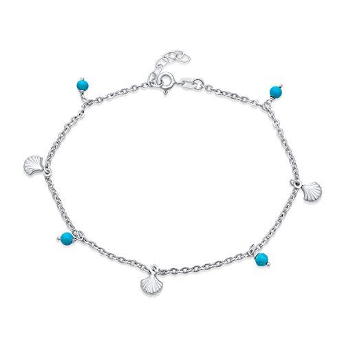 Nautical Multi Charm Seashell Aqua Blue Bed Dangle Anklet Ankle Bracelet For Women .925 Sterling Silver 9-10 Inch Adjustable