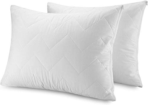 Zippered Pillow Protector Cover Case   100% Cotton Waterproof Bed Bug Proof   Luxury Quilted Hypoallergenic & Allergy…