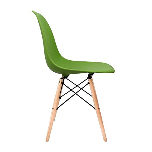 Inspirer Studio Set of 4 New 17 inch SeatDepth Eames Style Side Chair with Natural Wood Legs Eiffel Dining Room Chair Lounge Chair Eiffel Legged Base Molded Plastic Seat Shell Top Side Chairs(Green)