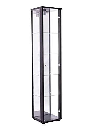 K-Möbel Glasvitrine in Schwarz (176x37x33 cm) mit 4 höhenverstellbaren Glasböden aus ESG, mit Spiegel; beleuchtet; perfekt für Sammler;