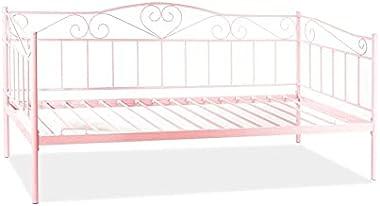 Hucoco BIMMA | Lit métallique de Chambre à Coucher | 96x208 cm | Construction métallique | Simple | Décorations subtiles | Ro