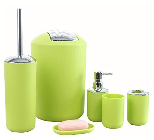 Icegrey Design Moderno 6 Pezzi Set di Accessori per Il Bagno Bottiglie per Lozione, Portaspazzolino, Boccale per Denti, Portasapone, Scopino per WC, Pattumiera,Verde