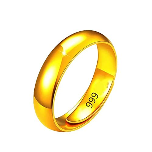 Detitify Anillos para Mujer Thousand Foot Pure Gold Ring Men's and Women's Smooth Ring with Adjustable Opening 3.33g