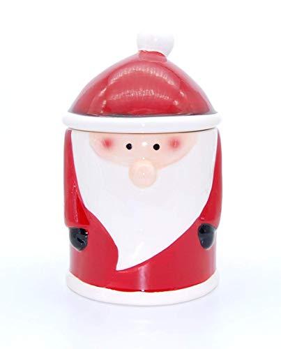 Exner Weihnachtsmann Keksdose Gebäckdose aus Keramik rot weiß 12,5 cm x 12,5 cm x H 20,5 cm