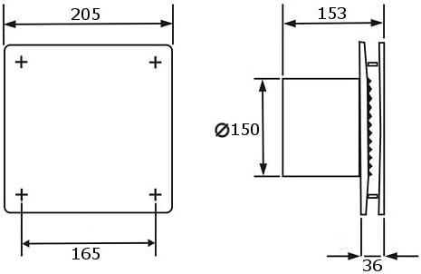 Feuchtesensor Timer Bad-L/üfter Ventilator Wandl/üfter 100 125 150 VENTS LD-TH //LDA-TH Nachlauf Edelstahl, /Ø 100