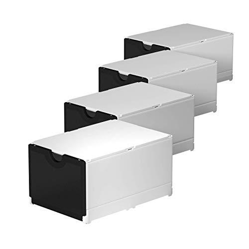 ECO RETAIL® Storage Superb 4er Set   Leichter Aufbau   Qualitativ hochwertige Organizer   Schuhe, Kinderspielzeug, Badeartikeln und Büromaterialien   EU (Weiß-Frontklappe schwarz)