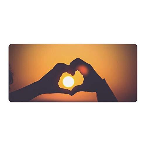 Desk Pad Hand zet de zon meer dan liefde Rubber Vloer Mat, Office Bureau Mat, Laptop Bureau Mat, Waterdichte Bureau Schrijven Pad voor Kantoor en Thuis, 40x90cm, Kleur: wit