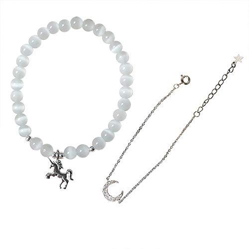 Pulsera de plata de unicornio ópalo luna mujer pulsera regalo novia S925