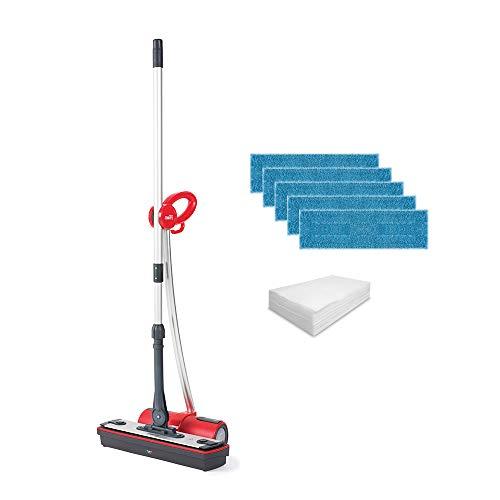 Polti Moppy - Limpiador de suelos con vapor, accesorios adicionales, para todo tipo de suelos y superficies verticales lavables - Rojo